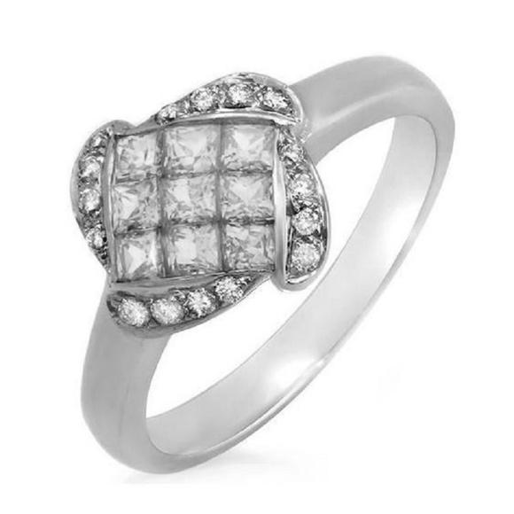 Unbranded Jewelry - 0.68 CT  Set Princess Diamonds 18 White Gold Ring